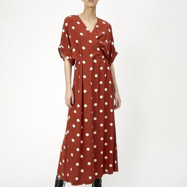 Just Female Caia Dress - Rust/White Polka Dot