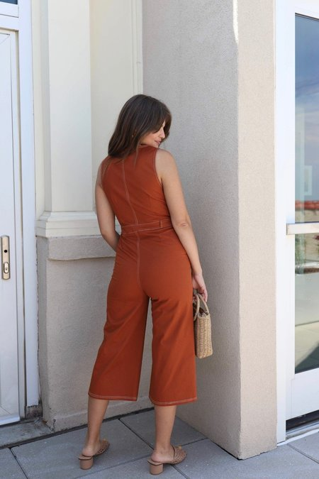 Honey Punch Twill Jumpsuit - Rust