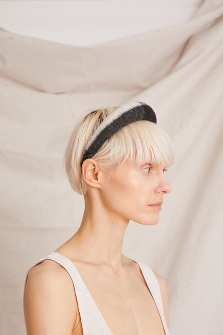 Still Here New York Simple Wool Headband - Black/White Plaid