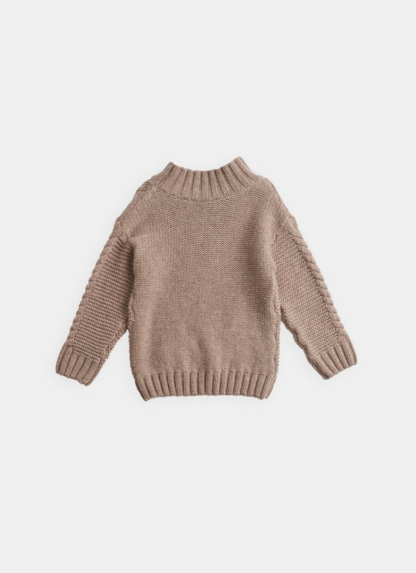 KIDS Belle Enfant Cable Knit Sweater - Hazelnut