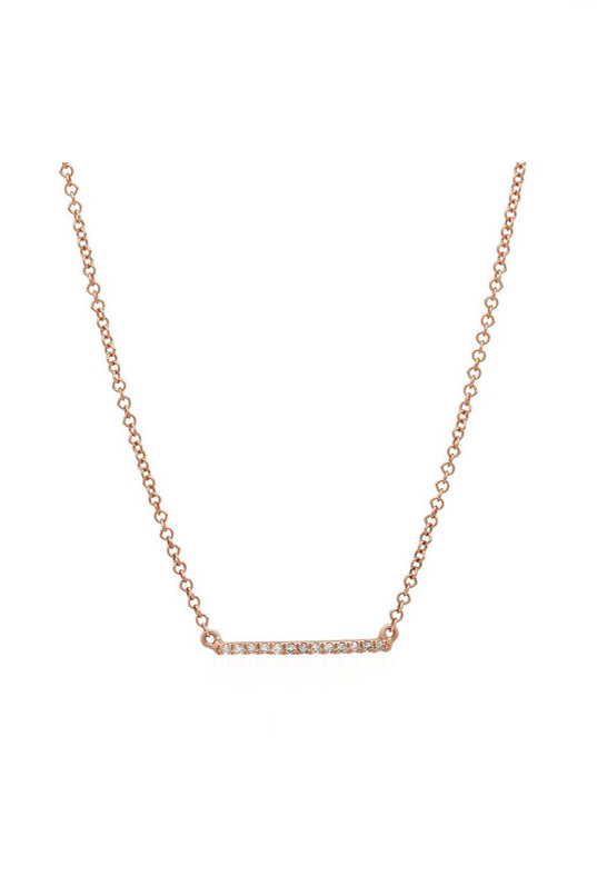 Sachi Jewelry Mini Micro Bar Necklace - 14K Rose Gold
