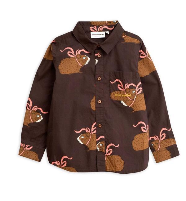 kids Mini Rodini Posh Guinea Pig Shirt - brown