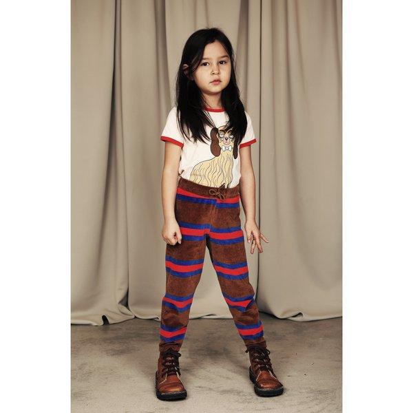 kids mini rodini velour stripe trousers - brown