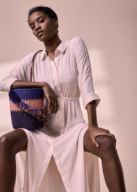 AAKS Lamé Ruffle Bag - Blue