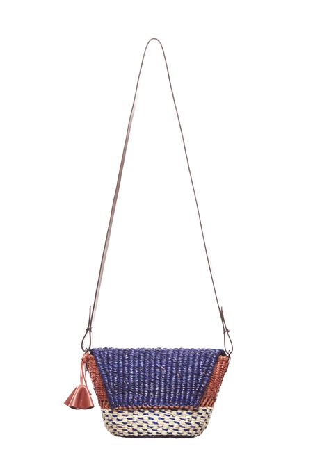 AAKS PELKA Clutch Bag - Natural/Orange/Navy