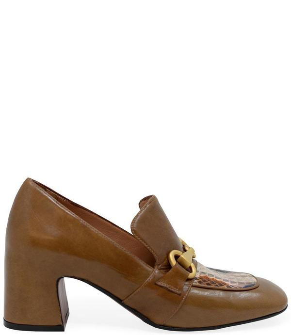 Madison Maison By Mara Bini Mid Heel Perla Loafer With Snake - Tan