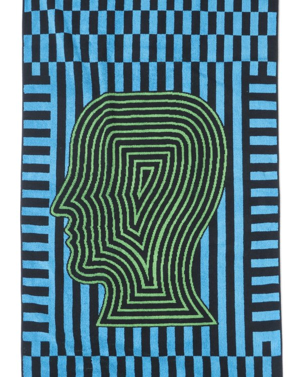 BRAIN DEAD Logo Head Linework Beach Towel - Black on Garmentory