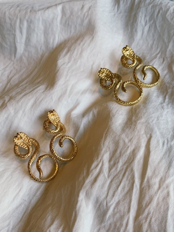 BEFORE MARCH Royal serpent studs - 14kt gold