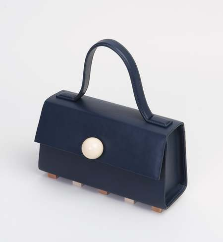 Matter Matters Mini Trapezoid Satchel Bag With Strap - Navy