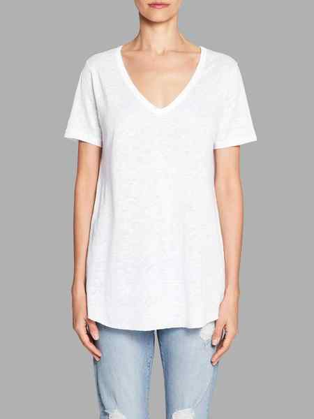 american vintage Quincy V Neck Tee - White