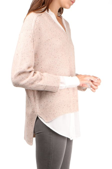 Brochu Walker V-Neck Layered Pullover - Nude Multi