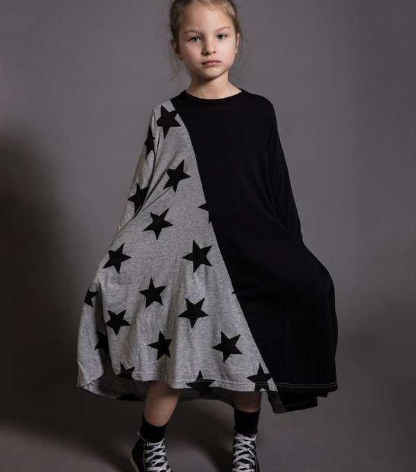 Kids Nununu 1/2 & 1/2 Star 360 Dress - Black/Heather Grey