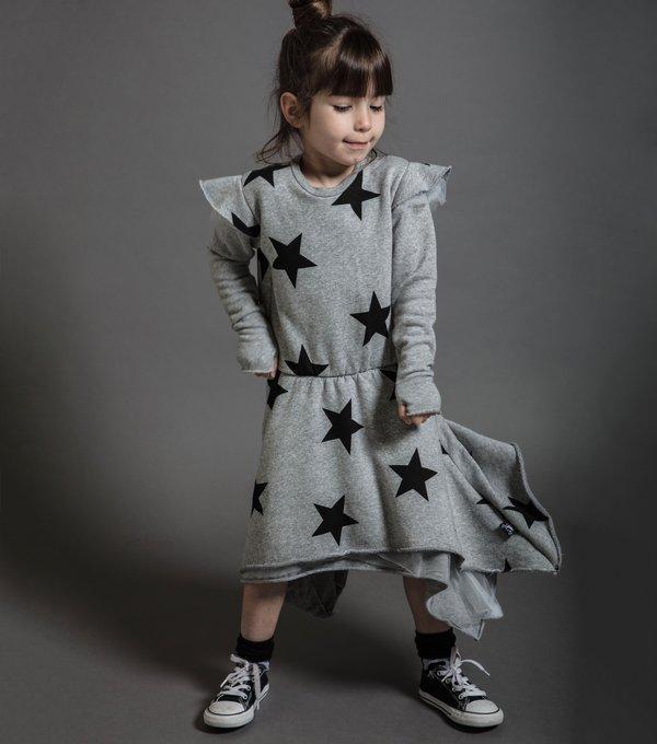 Kids Nununu Ruffled Sleeve Star Dress - Heather Grey