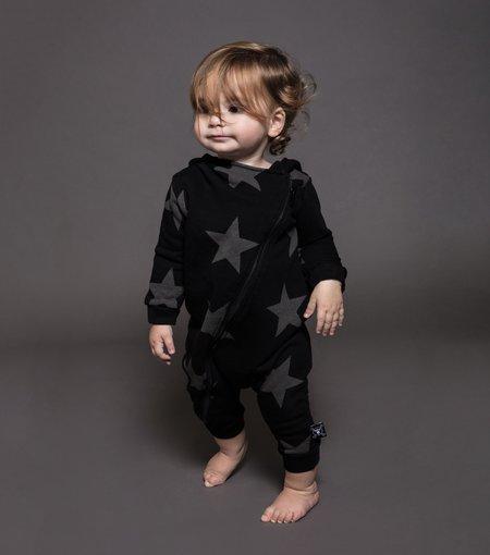 Kids Nununu Star Zipped Hooded Overall - Black