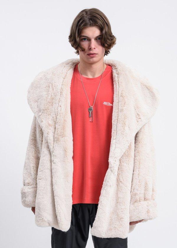 we11done\ Faux Fur Coat - Ivory