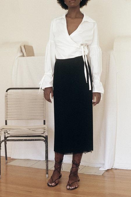 Vintage Raw Edge Pleated Skirt - Black