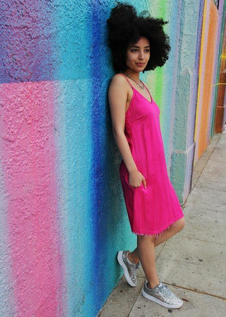 Love Tanjane Hand Dyed Slip Dress - Hot Pink