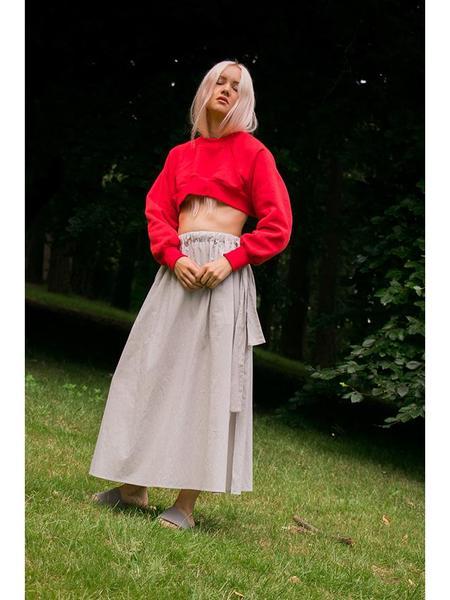 Alexa Stark Modest Rose Crop Sweater - Red