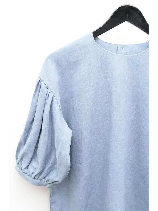 Cosmic Wonder Puff Sleeve Linen Shirt - Aqua