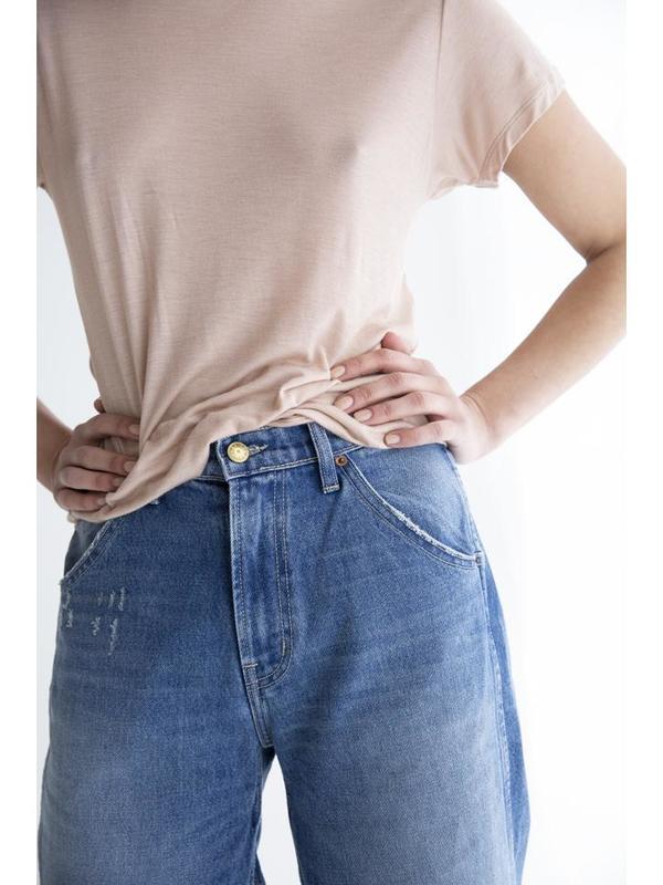 B Sides Georgia Hi Culotte Crop Jeans - Rose Tint Vintage Wash