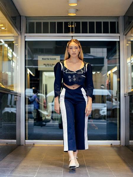 Francesca Longo Denim Suit Trouser - Blue