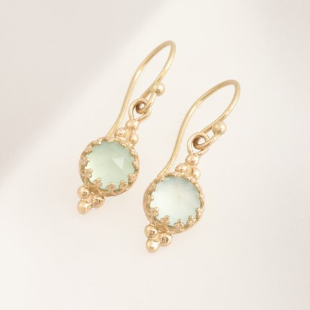 Becky Kelso Round Rosecut Calcite Earrings on French Wire - Gold