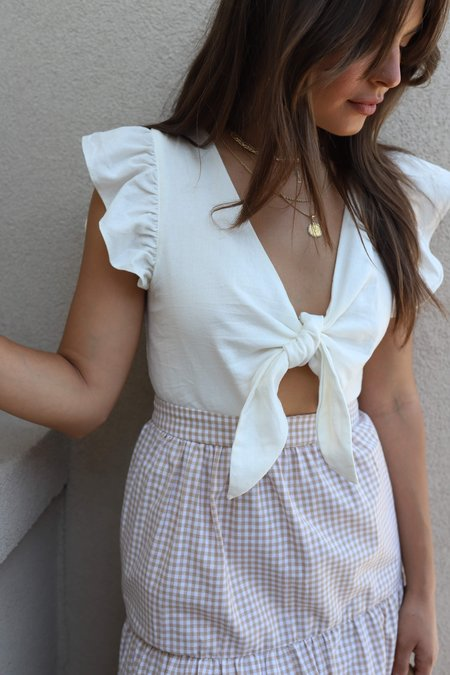 English Factory Midi Dress - Ivory/Gingham