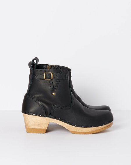 "No.6 5"" Leather Buckle Boot on Mid Heel - Black"
