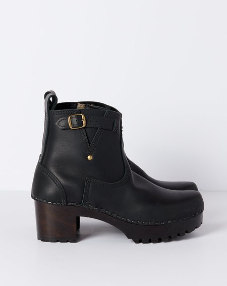 """No.6 5"""" Leather Buckle Boot on Mid Tread - Black on Coffee Base"""