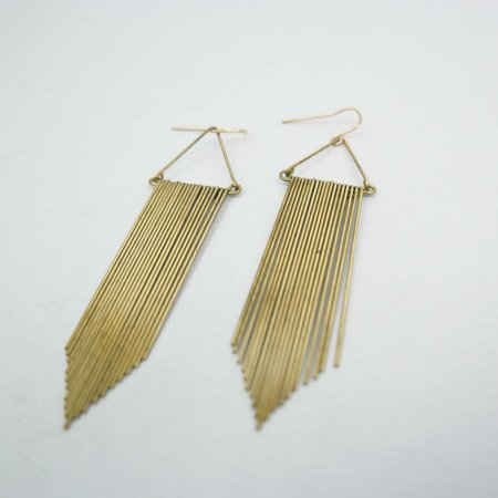 Hellbent Fringe Chevron Earrings - Brass