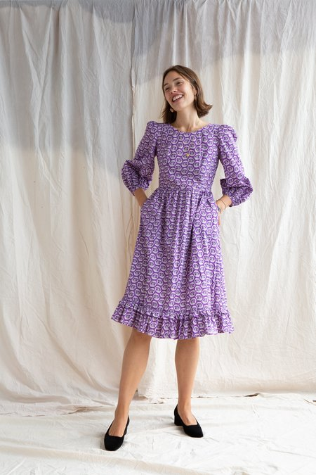 Batsheva Leaf Print Dress - Purple