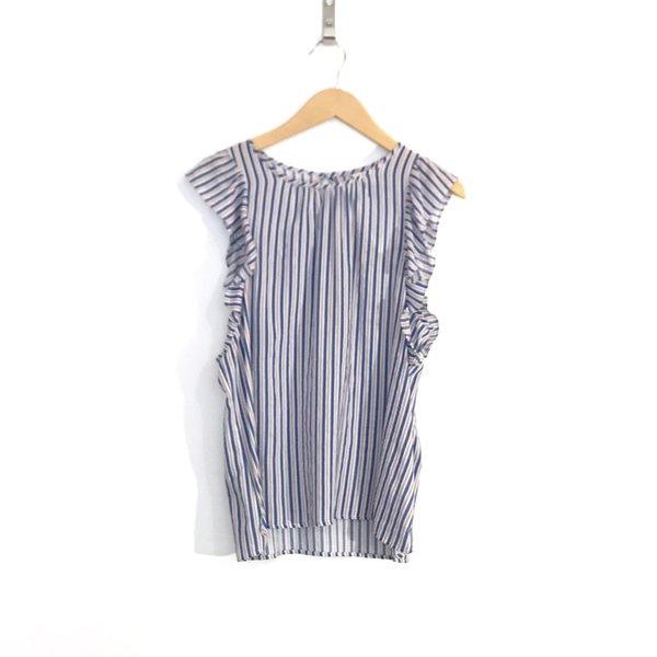 Dagg & Stacey Shay Ruffle Blouse - Blue Stripe