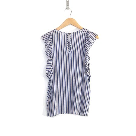 Dagg & Stacey Shay Ruffle Blouse - Blue Stripe