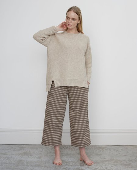 beaumont organic Adrienne Jay organic cotton cropped trouser - brown check