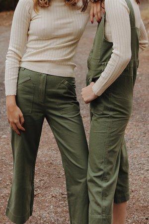 Ryder Pip Denim Overalls - Green