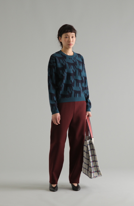 PLAINLESS WOOL TWILL PANTS WITH EMBROIDERED WAISTBAND