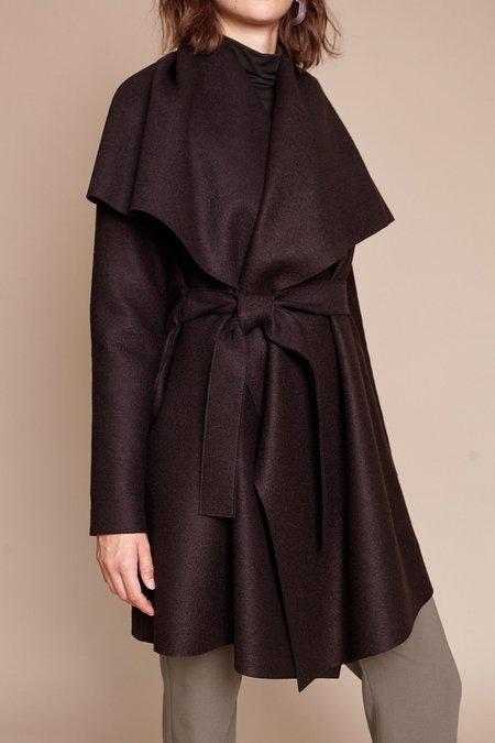 Harris Wharf London Blanket Pressed Wool Coat - Chocolate