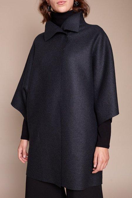 Harris Wharf London Kimono Mantle Wool Cape - Gunmetal