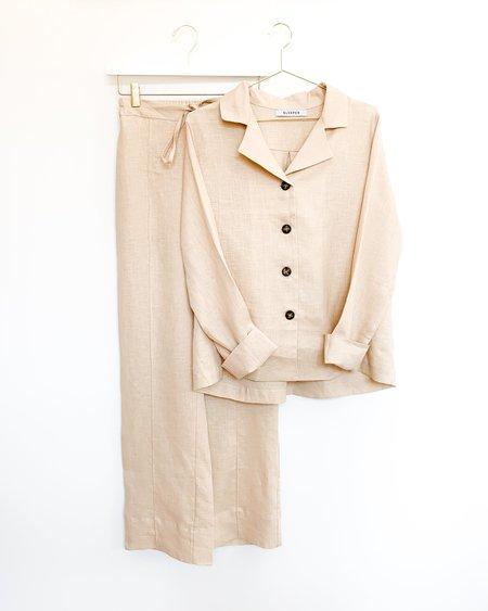 Sleeper Linen Pajama Set with Pants - Beige