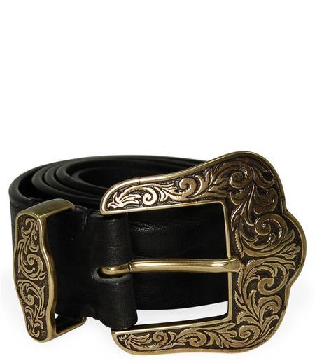 Post & Co Vintage Leather With Gold Buckle Belt - Black
