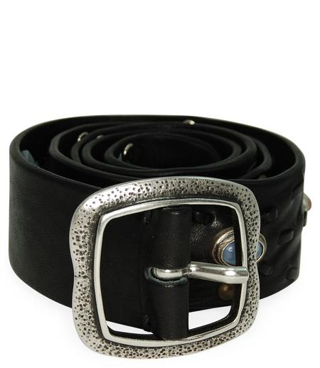 Post & Co Vintage Leather With Stone Detail Belt - Black