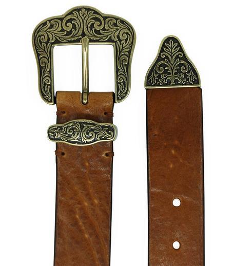 Post & Co  Vintage Leather With Gold Buckle Belt - Saddle