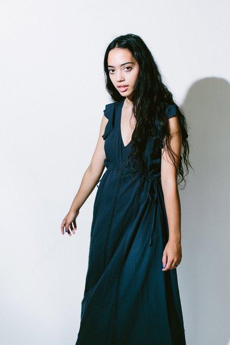 Heather Ingalls Gauze Lace Trim Dress - Navy