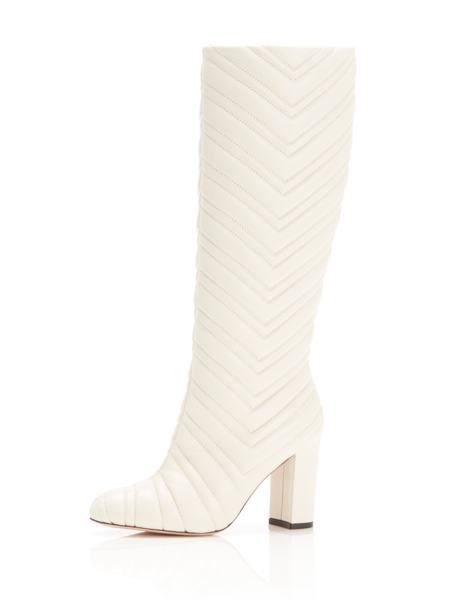 MARION PARKE Dion Quilted Leather Tall Boot - Eggshell