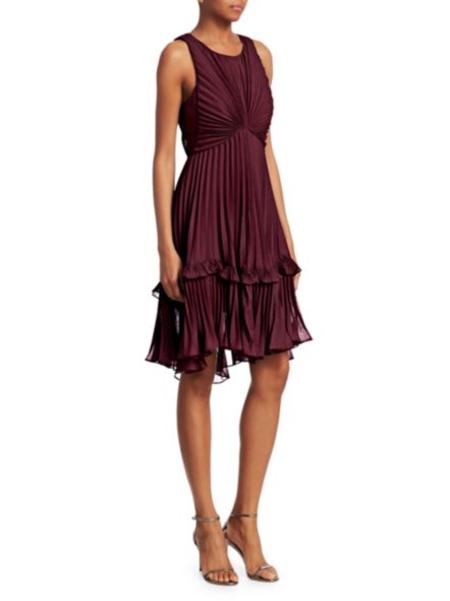 Halston Heritage Flounce Detail Pleated Dress - Syrah