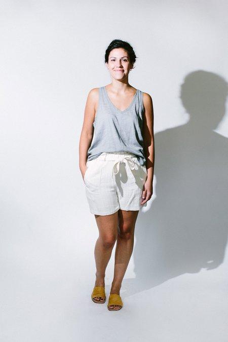 Heather gauze v-neck - Grey