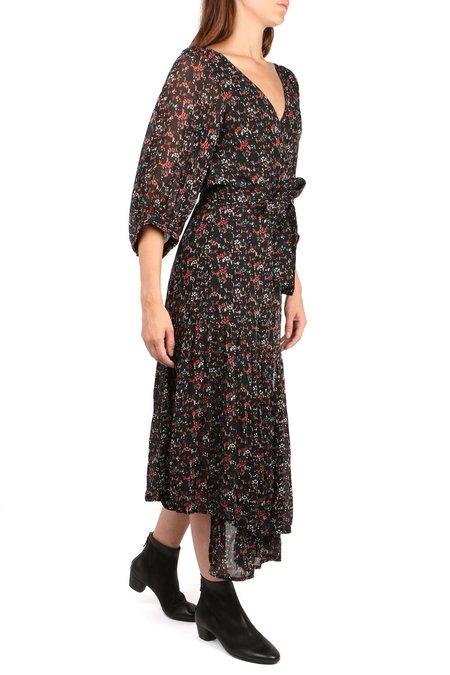 Apiece Apart Bouganvillea Wrap Dress - Brush Print/Black Multi