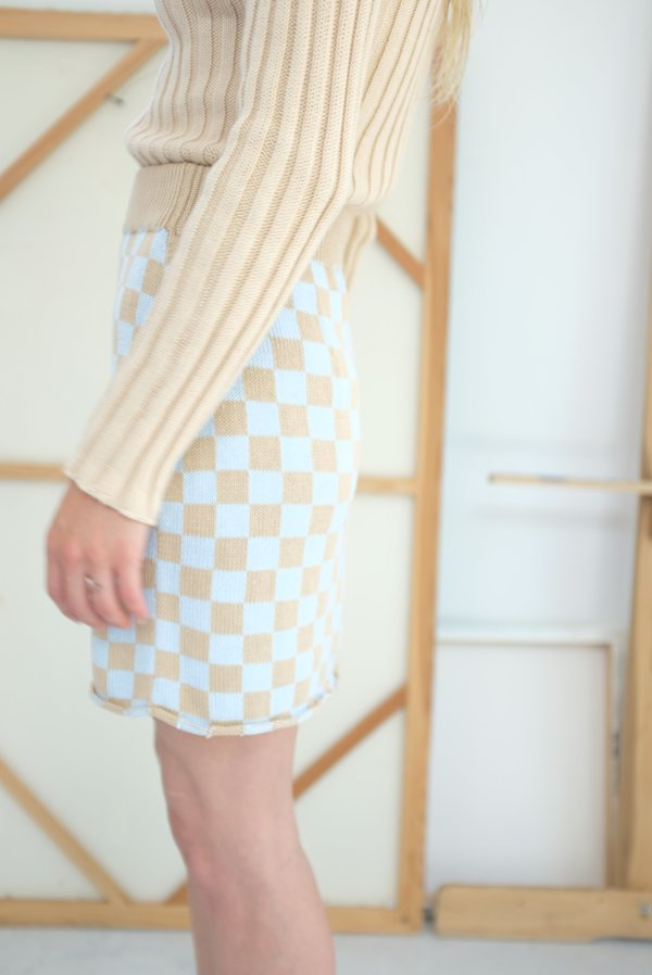 Beklina Knit Check Skirt - Sky Blue