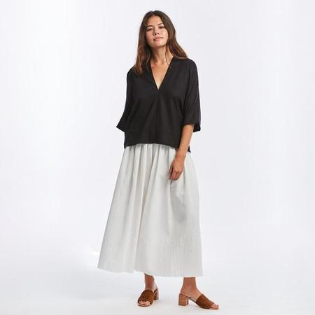 Miranda Bennett Muse Silk Noil Top - Black