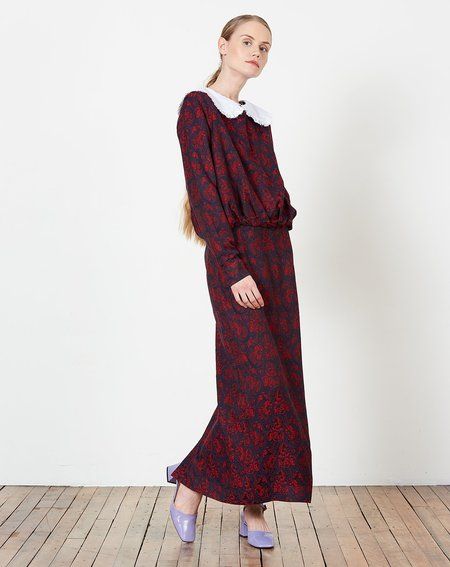 Suzanne Rae Blouson Dress - Red and Navy Paisley Jacquard